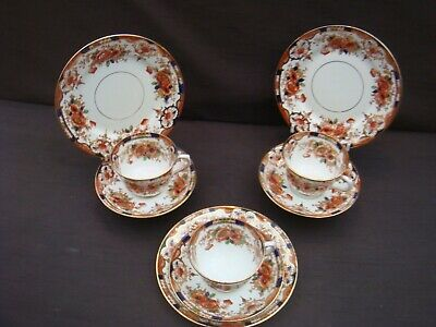 Three Art Nouveau Salisbury China Trios Anzae Pattern Cups Saucers Plates # 2