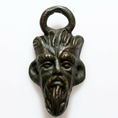 Intact Viking Bronze Pan Head Pendant Circa 793–1066 Ad