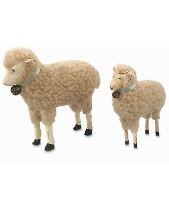 Bethany Lowe Easter Set of 2 Resin Wool Lambs Sheep TR5000 New