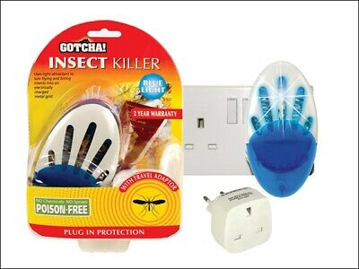 NEW Gotcha! Insect Killer Plug In - Comes with Euro 2-pin travel adaptor STV733