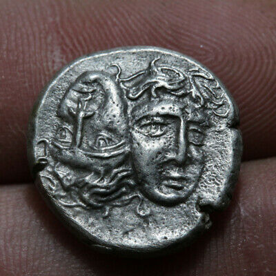 Greek Silver Stater coin Thrace Istros Tween Eagle Dolphin Circa 400 BC