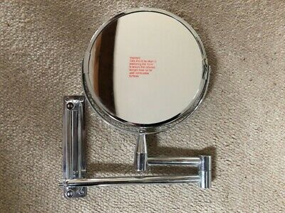 Wall Mounted Standing Bathroom Shaving Make Up  Adjustable Chrome Round Mirrors
