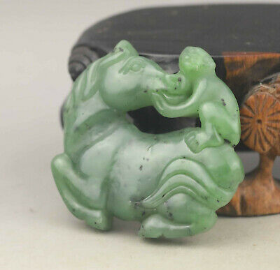 Old Chinese natural hetian green jade hand-carved horse and monkey pendant
