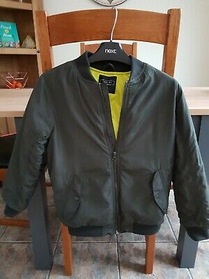 Next Boys Dark Green Bomber Jacket Age 9 Years Excellent Condition