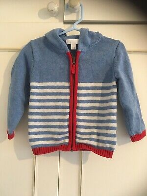 The little white company 12-18 Months Nautical Light Blue Stripe Hooded Cardigan