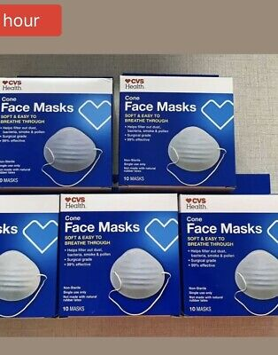 50CVS Cone Face Mask Surgical Grade Masks Flu Virus Protection GOOD QUALITY5box