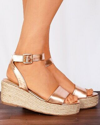 Rose Gold Metallic Wedged Canvas Espadrilles Wedges Strappy Sandals Ankle Shoes