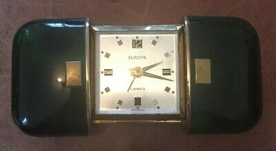 Vintage Europa 7 Jewels Folding / Extending Travel Alarm Clock. Made In Germany