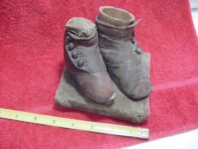 2 Antique Victorian Button Top Child's Baby Shoes Mounted For 2 Siblings