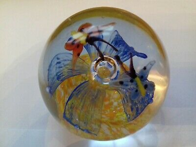 Beautiful Glass Paperweight With Flower And Butterflies