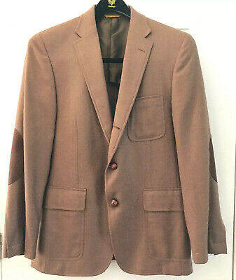 NWT Mens HICKEY FREEMAN Jacket Sport Coat Size 40R CAMELHAIR WOOL Elbow Patches