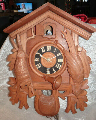 Cuckoo Clock Battery Operated Black Forest Type Germany As Is
