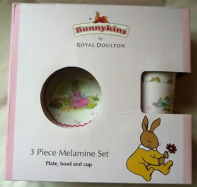 Bunnykins By Royal Doulton 3 Piece Nursery Set Melamine-Cup;Bowl;Plate-Boxed New