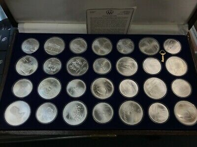 1976 Silver Canadian Montreal Olympic Games Set-28 Coins original box - 30.25 oz