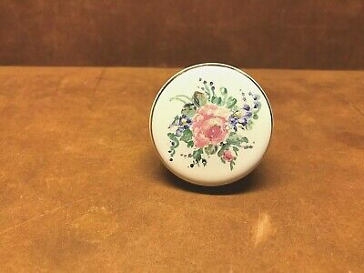 Vintage White Porcelain Door Knob Hand Painted Floral Pattern ~ FREE SHIPPING