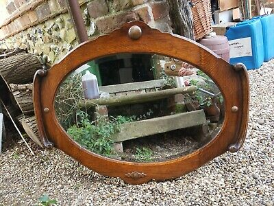 Beautiful Arts & Crafts overmantel mirror, oval mirror with oak frame