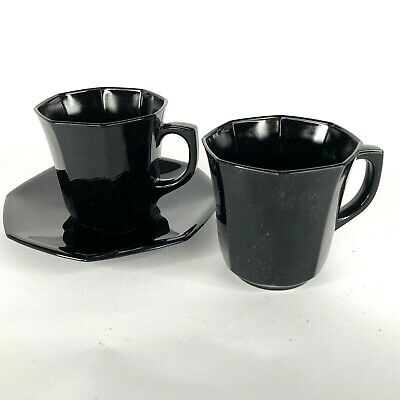 Arcoroc Black Octime 2 Cups and 1 Saucer Octagon Glass Teacup Made France Coffee