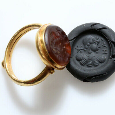 Museum Quality Ancient Indo Greek Gold Foil Seal Ring Circa 100 Bc