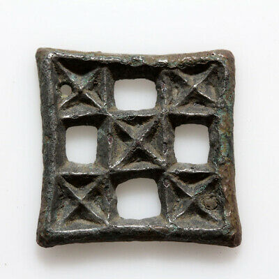 Intact-Ancient Byzantine Bronze Open Work Ornament Applique Circa 500-700 Ad
