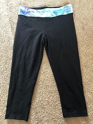 Girls Ivivva Leggings Size 14 Black Cropped Reversible Shows Signs Of Wear