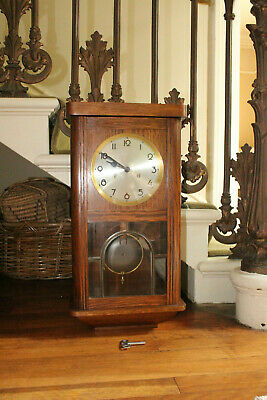 COUNTRY HOUSE SALE Antique Vintage Ting Tang Gong Wooden Wall Clock,Bracket