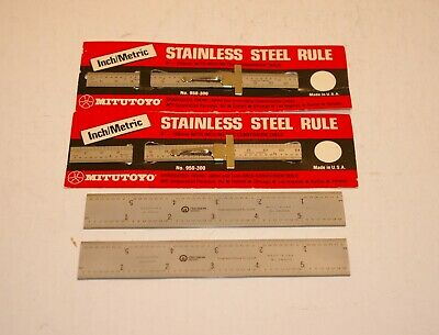 "2 rules & 2 combination square blades 6"" inch 150 mm rulers new old stock USA"
