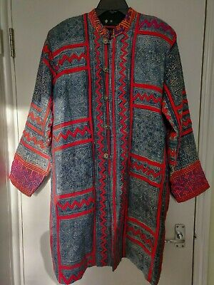 Vintage quilt/ embroidered men kantha jacket South Asia handmade nickel buttons