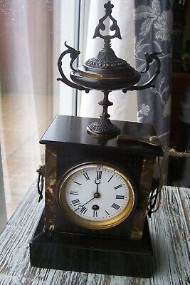 Antique Black Slate French Mantel Clock Small Brass Top Finial Working Original