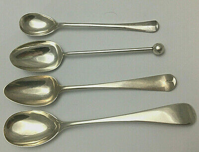 4 Antique Georgian Victorian Sterling Silver Spoons
