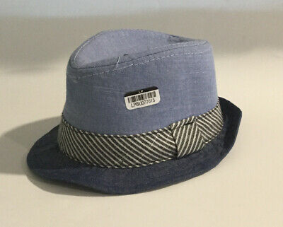 Cat & Jack Baby Boys Little Boys Plaid Fedora Hat Blue Denim White One Size