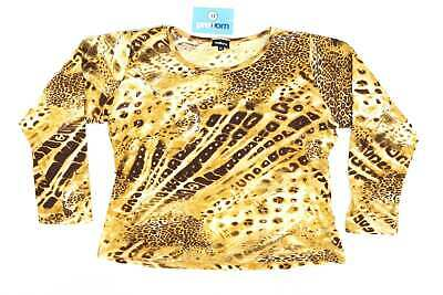 Natura Womens Size XL Animal Print Cotton Brown Sequin Tiger Leopard Lion Long S