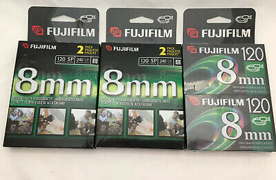 (Lot Of 3)Fujifilm 8mm Videocassette 2 Pack P6-120 Video Camera Tapes NEW Sealed