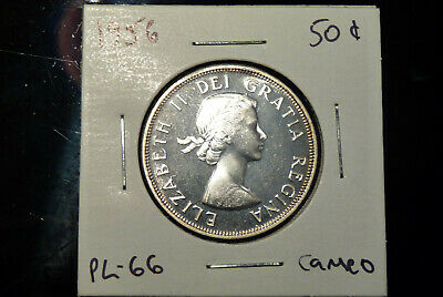 1956 Canada silver fifty 50 cents - PL66 proof-like cameo