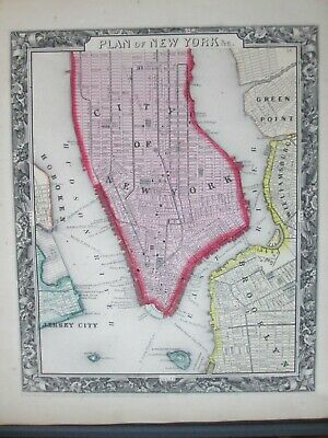 1860 Mitchell map of New York City * Original Antique! 0007
