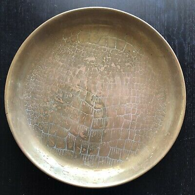 Antique Solid Brass JS&S English Alligator Croc Skin Round Art Tray Plate SIGNED