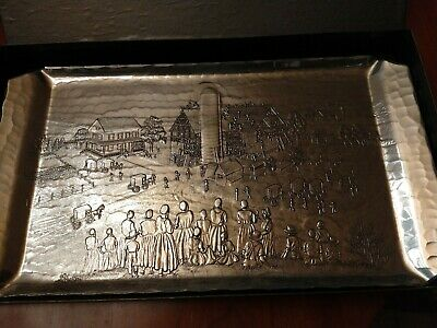 """Wendell August Forge 15 3/4 by 9"""" Aluminum Tray Amish Barn Raising"""