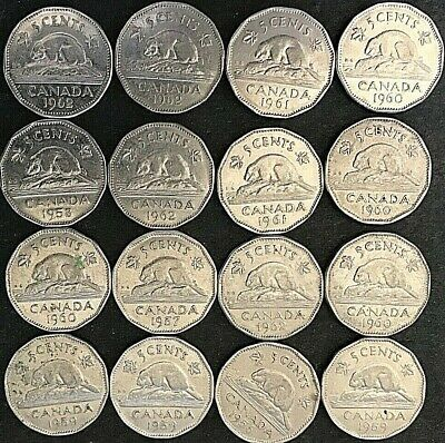 1957-1962 Canada Five Cent Nickels Full Date Lot Of 16 Coins