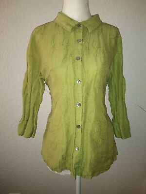 French Laundry Petite Women's Casual Lime Green Button Shirt Size PXL