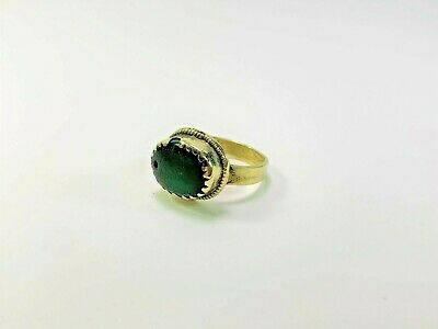 Antique Handmade Brass with Green Stone Ring. Ring Size 6 3/4