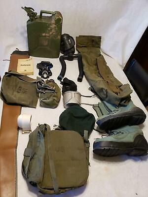 Military Army Lot - Gas Mask / Gas Tank / Boots / Canteen / Duffel / Survival