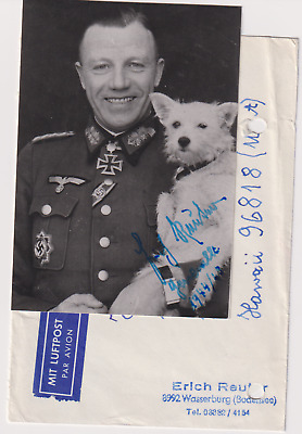 Signed photo Heer Generalmajor Erich Reuter -Knights Cross with Oakleaves
