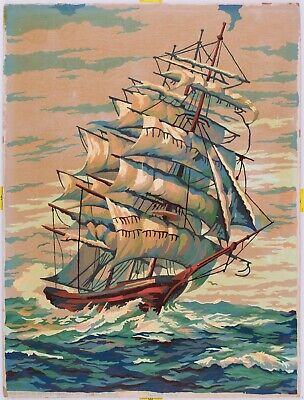 Vintage Paint By Number Clipper Ship 12x16 Oil Midcentury