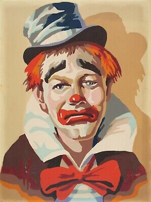 Vintage Indifferent Clown Paint By Number 12x16 Oil Midcentury