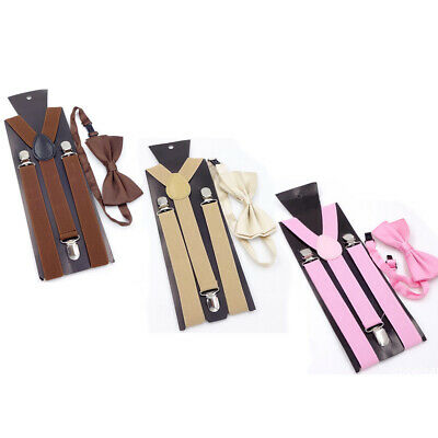 Matching Braces Suspenders and Bow Tie Set Kids Adult Children Boys Wedding #KN