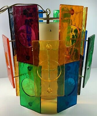 Mid-Century Modern 1960'S Multi-Colored Lucite  Panels Swag Lamp Hanging Light