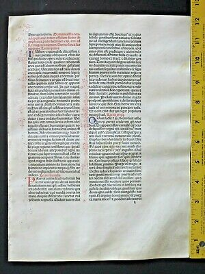 Extremely rare incunabula,Breviary leaf on vellum,handpt.initials,Jenson,1478#9A