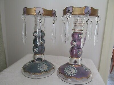 Two Vintage Lustre Centrepiece or Vase Vases with Crystal Drops Enamel Flowers