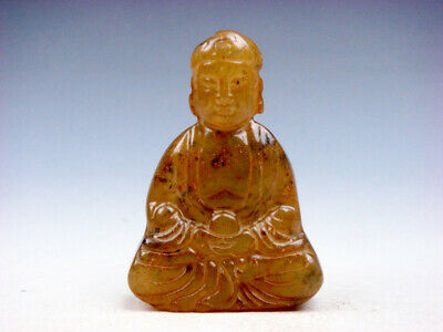 Old Nephrite Jade Stone Carved Sculpture Shakyamuni Buddha Praying #12051904