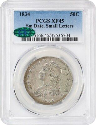 1834 50c PCGS/CAC XF45 (Small Date, Small Letters) Bust Half Dollar