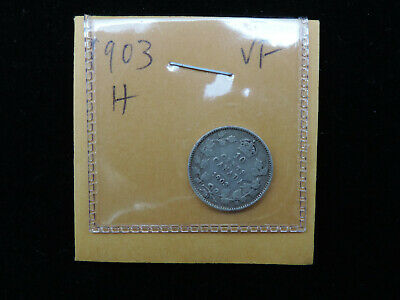 1903H 10 Cent Coin Canada Edward VII Ten Cents .925 Silver VF Grade